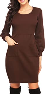 Women's Long Sleeve Crewneck Knitted Dress Slim Fit Tunic Sweater Dress with Pocket/with Lace Tassel Hem