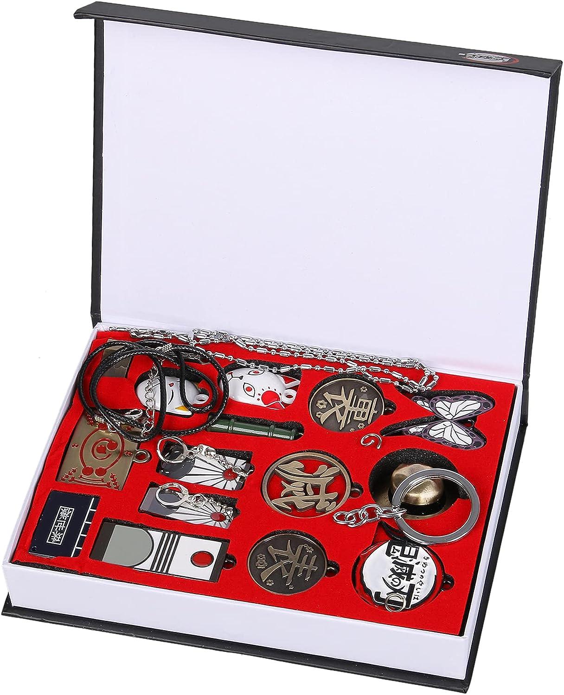 Anime Demon Slayer Kimetsu No Yaiba 15pcs Keychains Set Kamado Nezuko Cosplay Necklace Pendant Keyrings with Box