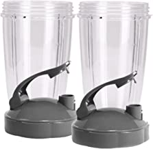 Tall Replacement Cups for NutriBullet High-Speed Blender/Mixer | 24 oz Nutribullet Cup with Flip Top To-Go Lid (Pack of 2) by Preferred Parts