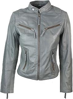 bc8dd63b7b Veste femme perfecto cuir 100% véritable coupe cintrée style biker vintage  gris Rock