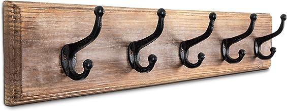 "DOMEK Farmhouse Coat Rack Wall Mounted Wooden - (Large 33.5"") 5 Iron Hooks Rustic Premium Solid Fir Wood Coat Hanger Wall ..."