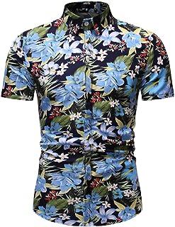 NOBRAND Men's Hawaiin Shirts Men Shit Shirt Slim Fashion Casual Short Sleeve Cardigan Flower Shirt M-3XL