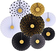 zilue Black Party Hanging Paper Fans Decoration Set for Wedding Birthday Party Baby Showers Round Events Accessories Set of 8