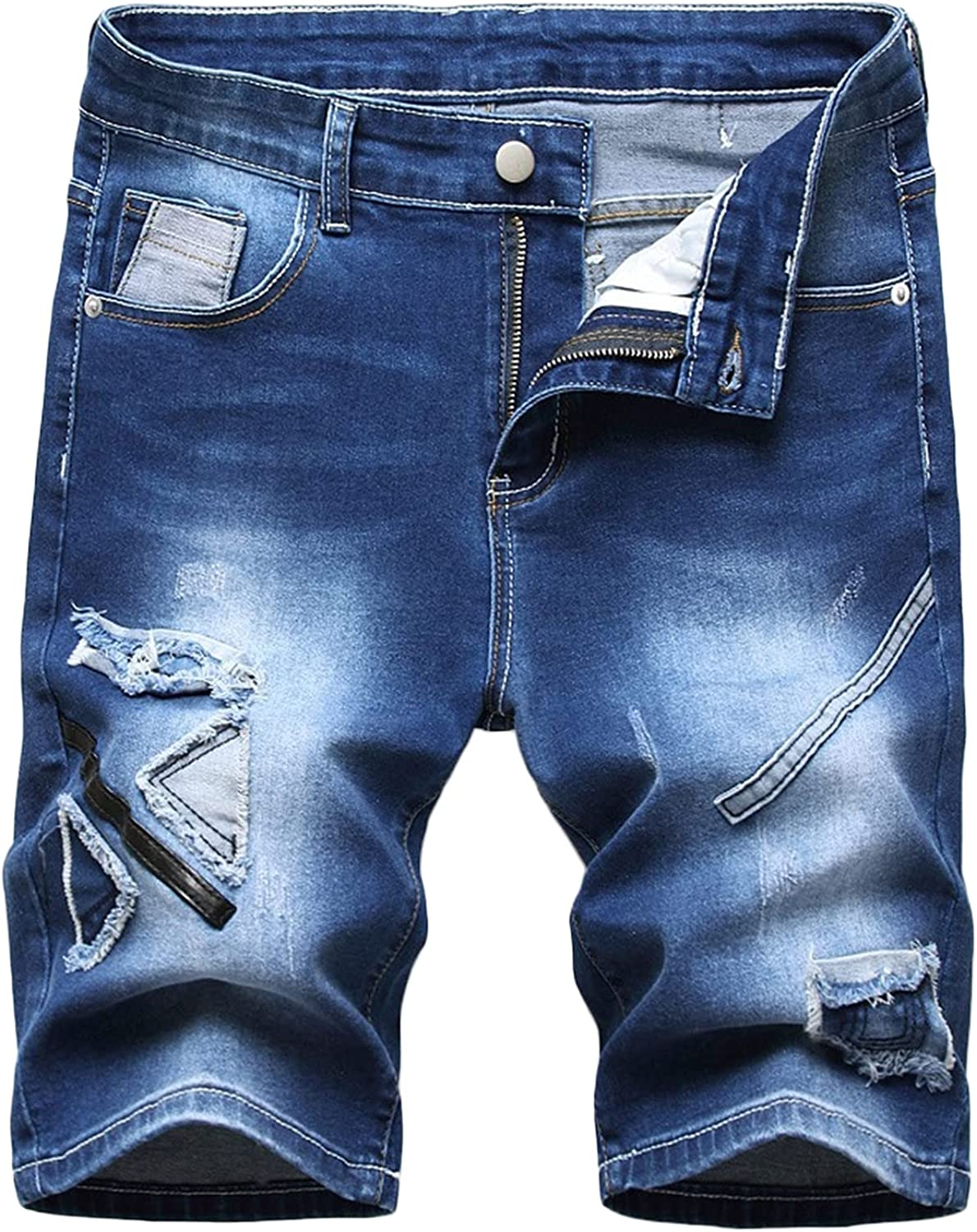 Men's Distressed Patch Denim Short Patchwork Ripped Slim Jeans Shorts Fashion Patches Casual Straight Jean Short-pant