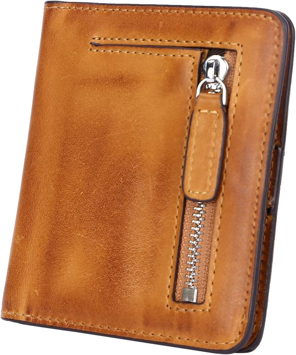 Yafeige Women's Popular products RFID Blocking Small Pock Bi-fold Los Angeles Mall Leather Compact