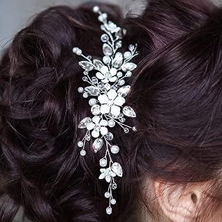 Aukmla Bride Wedding Hair Vine Crystal Bridal Hair Piece Silver Flower Hair Accessorise for Women and Girls HV-19