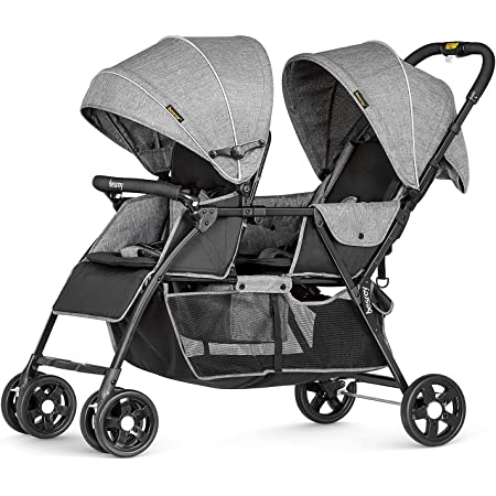 besrey Double Stroller for Infant and Toddler, Lightweight Tandem Baby Stroller, Easy Foldable, Compact Travel Twin Stroller with Rain Cover & Extra-Large Storage Basket Grey for 0-36month Kids