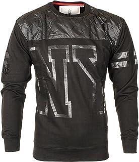 Soulstar Men's NY Quilted PU Wet Look Varsity Fleece Sweatshirt Jumper Top Size