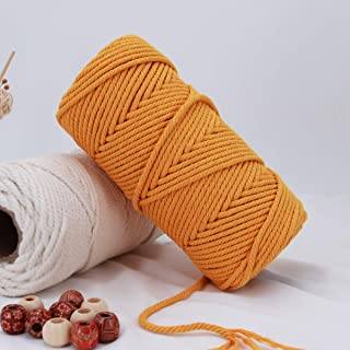 Macrame Cord 4mm 100m Cotton Rope Yellow, Natural Cotton Rope for Colorful Macrame Hand Knitting, 4 Strands Twist Colored ...