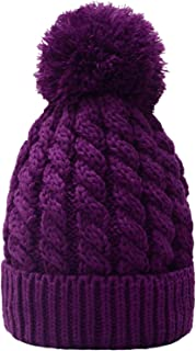 Women's Winter Beanie Warm Fleece Lining - Thick Slouchy Cable Knit Skull Hat Ski Cap