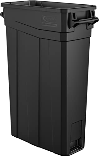 "Suncast Commercial TCNH2030BK Narrow Trash Can With Handles, 30.00"" Height x 11.08"" Width, 23 gal Capacity, Black"