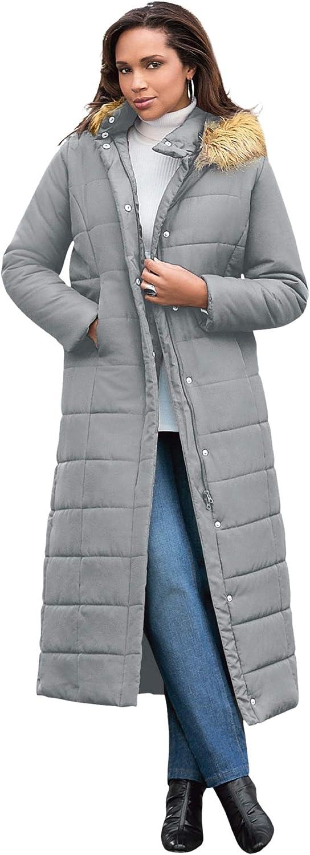 Roaman's Women's Plus Size Maxi-Length Puffer Jacket With Hood Winter Coat