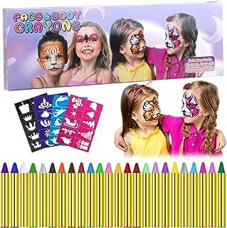 Navidad Pintura Facial,Emooqi 24 Colores Pintura de Cara Pintura Facial Seguro y No Tóxico Pinturas Cara Para Niños con 40 Plantillas,Ideal Para Carnaval,Cosplay,Fiestas Temáticas Regalo de Los Niños