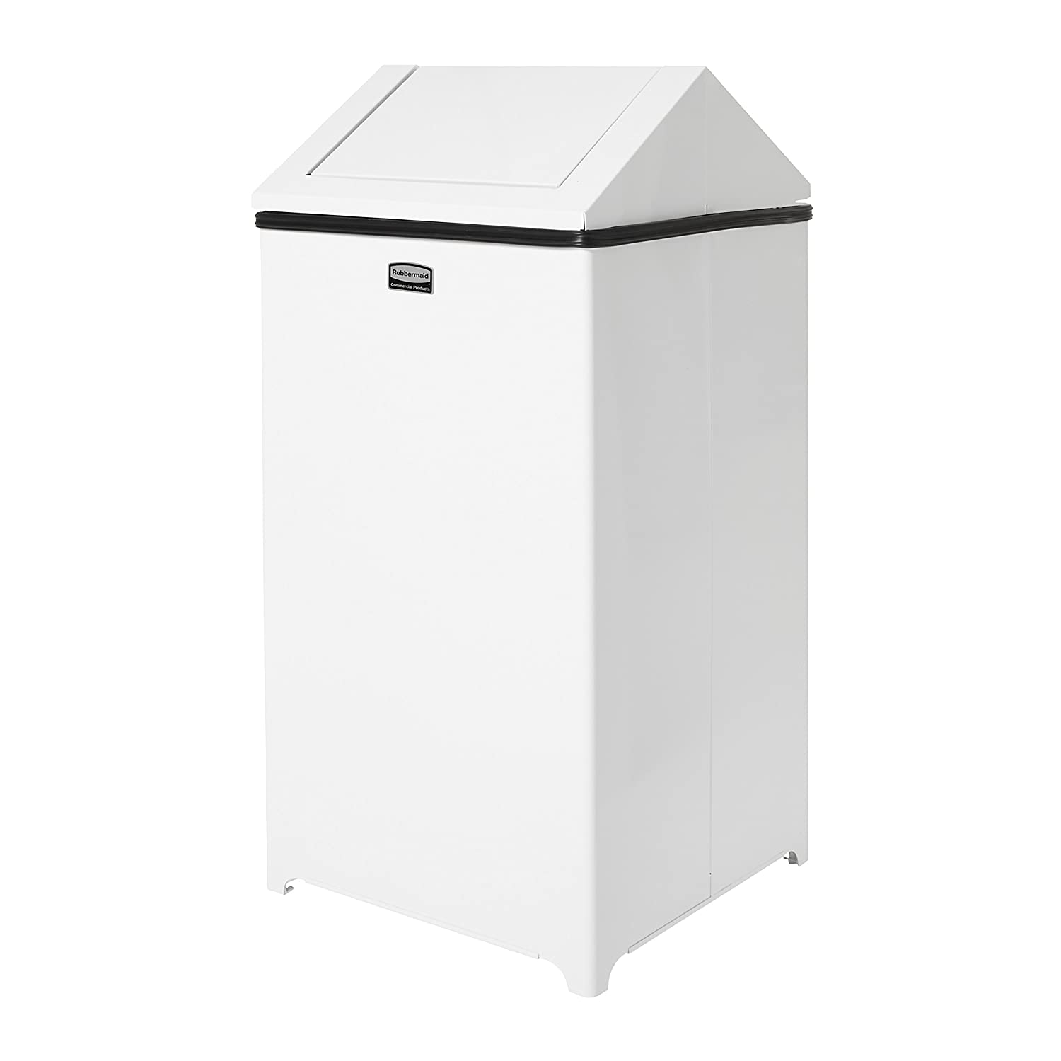 Rubbermaid Commercial FGT1424EPLWH WasteMaster Steel 24-Gallon Hinged Top Indoor Utility Trash Can White
