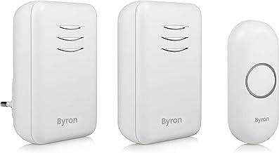 Byron DBY-22314 draadloze gong 16 melodieën, 150 m bereik, werkt op batterijen en stopcontact, wit