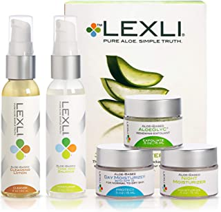 Lexli 30-Day Starter Kit Skin Care Set, Travel-sized Products For Women And Men On The Go, Includes Facial Cleanser, Toner, Exfoliator, Day And Night Moisturizer, For All Skin Types (5-Piece Pack)
