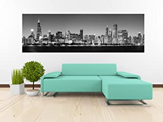 Removable Wallpaper Mural Peel & Stick Panoramic View of Chicago Skyline at Night (25H x 80W Inches)