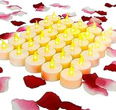 ANZOME 30 PCS velas de luces de té con 600 pétalos de rosa - luces de té de batería velas led Parpadeo brillante Decoraciones románticas para evento de boda
