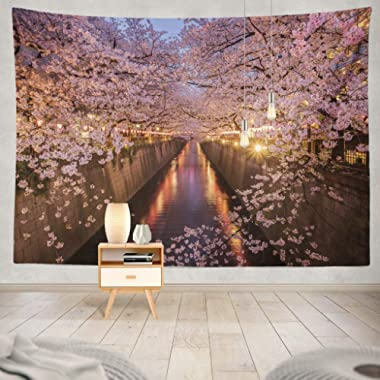 KJONG Cherry Blossoms River Tokyo Japan Japan Blossom Cherry Tokyo River Sakura Tunnel Spring Nature Travel Tree Decorative Tapestry,60X80 Inches Wall Hanging Tapestry for Bedroom Living Room