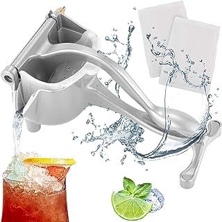 IMpress Manual Fruit Juicer Hand Press Kitchen Grade Aluminum Alloy with Teflon Coating - Orange, Lemon, Lime, Pomegranate Hand Juicer/Squeezer - Portable Juice Presser Juice Maker - 2 Reusable Filter Bags Included