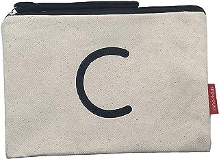 Hello-Bags - Neceser de Algodón con Cremallera y Forro Interior, 23 cm, Blanco