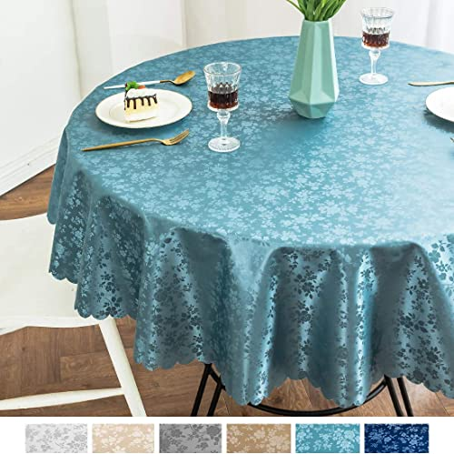 smiry Waterproof Vinyl Tablecloth, Round Stain-Proof Oil-Proof Heavy Duty Table Cloth, Wipeable Table Cover for Kitch...