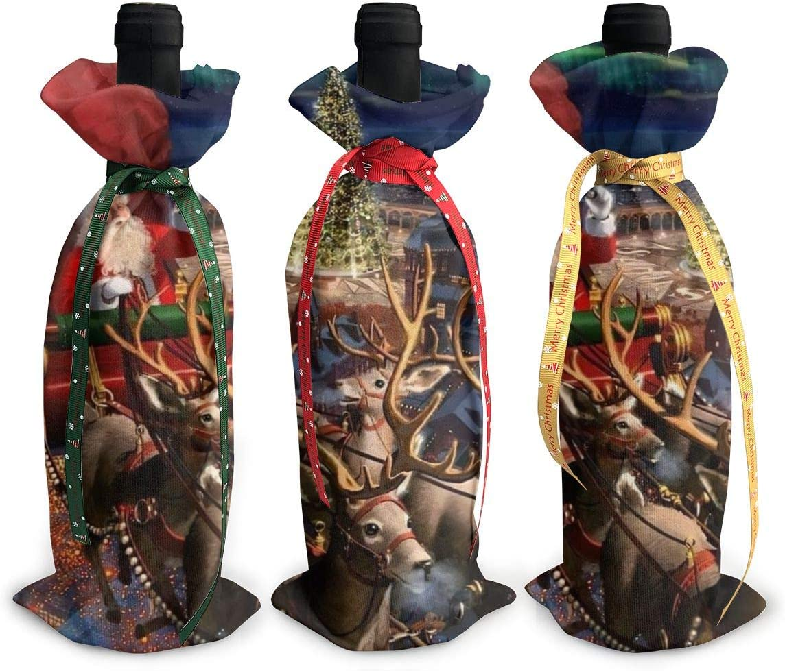 Santa Claus Christmas Reindeer Gifts3Pcs Oklahoma City Mall Opening large release sale Red Xmas Wine