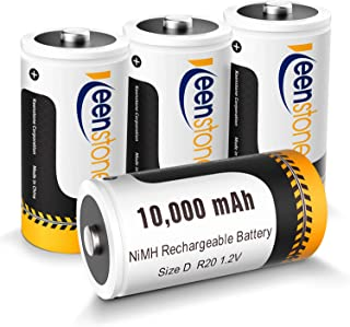 Rechargeable D Batteries 4 Pack, Keenstone 10,000mAh NiMH D Cell Batteries High Capacity High Rate Size D Batteries