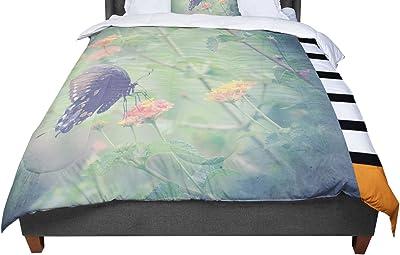 88 X 88 KESS InHouse Robin Dickinson On Top Teal Dark Queen Comforter