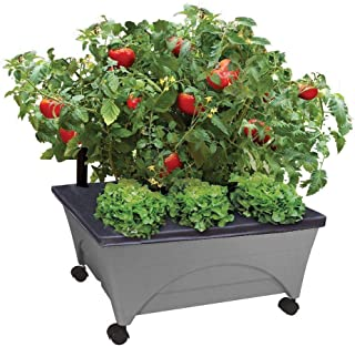 Emsco Group City Pickers 24.5 in. x 20.5 in. Patio Raised Garden Bed Kit with Watering System and Casters in Charcoal Gray