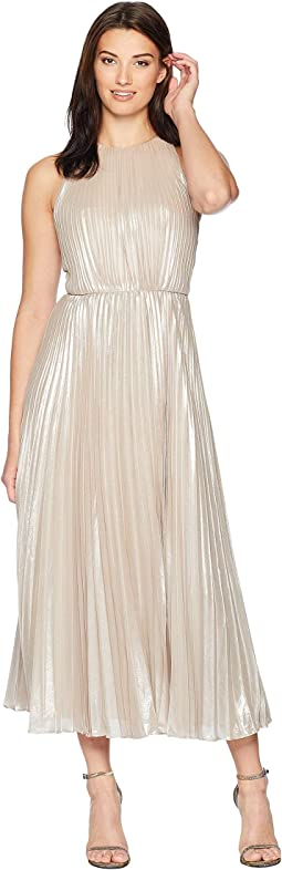 Pleated Metallic Midi