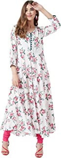 Tissu Women's White & Pink Floral Printed Flared Kurta