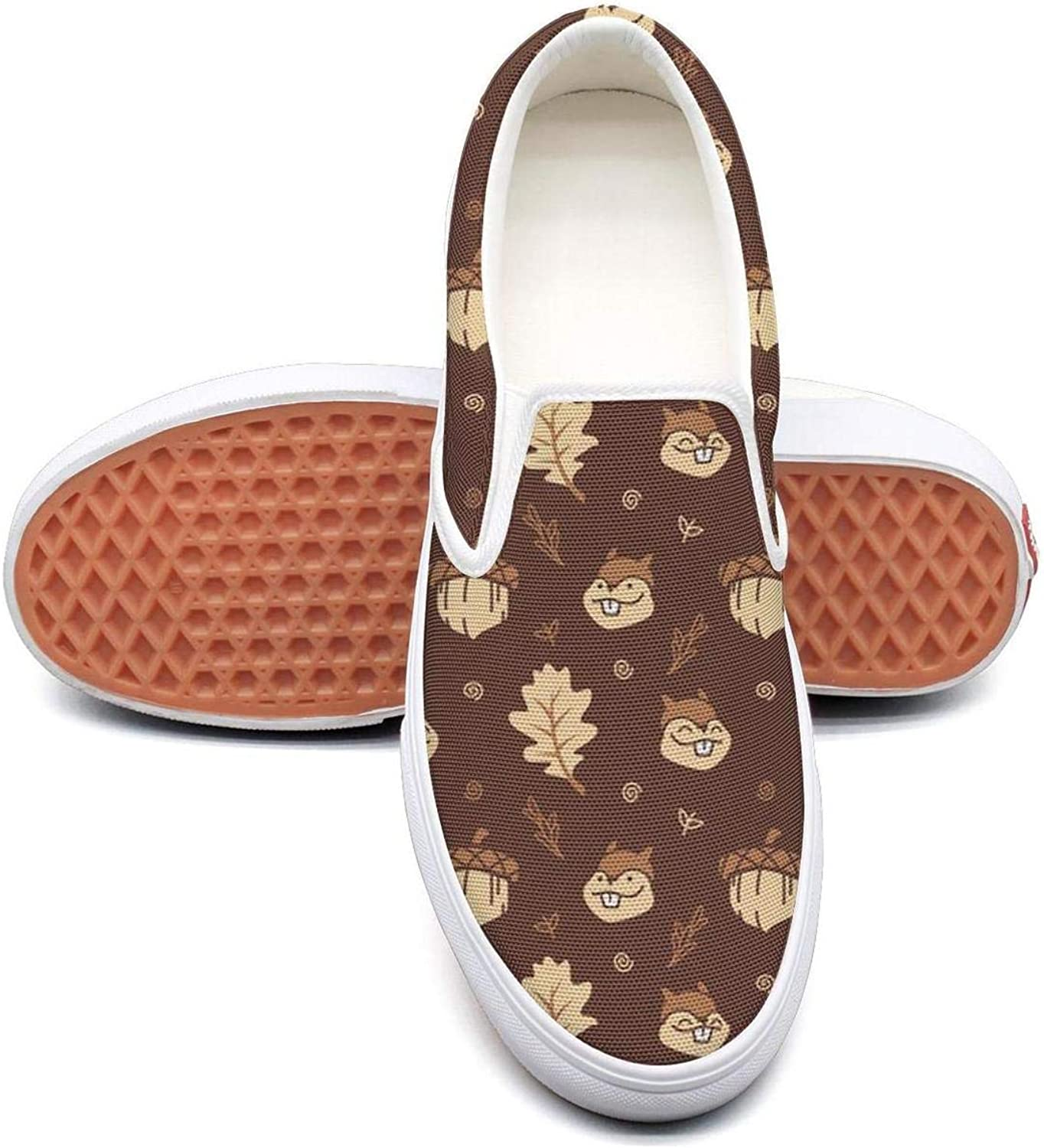 Feenfling Cute Cartoon Squirrel with Nuts and Autumn Leaf Womens Casual Slip on Low Top Canvas Athletic Sneakers