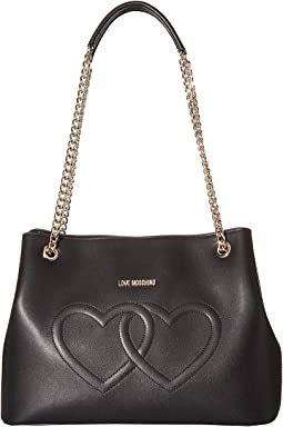 LOVE Moschino Embossed Heart Shoulder Bag