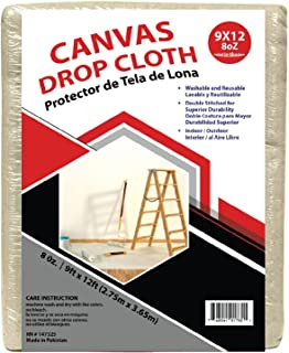 9x12 Canvas Drop Cloths Painters Drop Cloth for Furniture & Floor Protection - All Purpose Thick Cloth Duck Canvas with St...