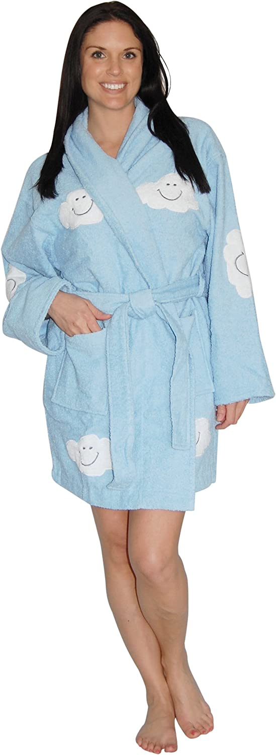 Aegean Apparel Cloud Appliqued Robe in Light bluee, 100% Cotton Terry, Short, OS