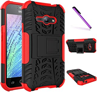 Galaxy J1 Ace Case, LEECOCO Heavy Duty Tough Armor Box Dual Layer Hybrid Hard PC and Soft TPU Shockproof Protective Defender Case for Samsung Galaxy J1 Ace (J110M) 2015 Heavy Red