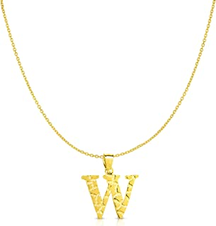 "Floreo 10k Yellow Gold Nugget Style Block Personalized Initial Alphabet Pendant with Optional 18"" Necklace"