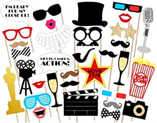 EBTOYS Hollywood Photo Booth Props 33 DIY Kits Paper Movie Photo Props on a Stick