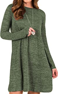 POGTMM Women's Casual Loose Knitted Basic Lightweight Swing Tunic Dress Long Sleeve Sweater Dress with Pockets