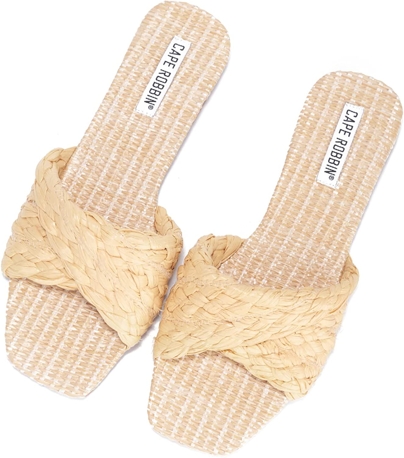 Cape Robbin YOLA Woven Sandals Slides for Women, Womens Mules Slip On Shoes