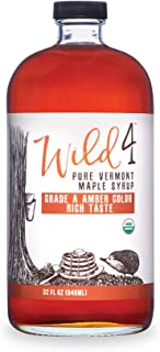 Wild4 Organic Maple Syrup, 100% Pure Maple Syrup from Vermont, Gluten Free, Grade A, Amber Color, Rich Taste (32 oz), 946 mL