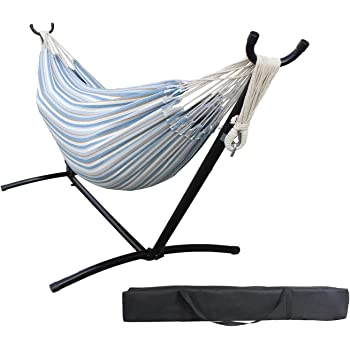 HENG FENG 2 Person Double Hammock with 9 FT Steel Stand and Portable Carrying Case, Sea Salt
