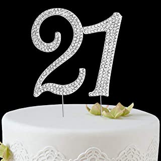 BABEYOND 21st Rhinestone Crystal Happy Birthday Decoration Cake Topper Pick for Birthday Party Supplies (Style2-21th-Silver)