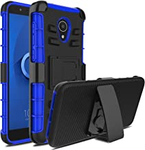 Innens Compatible with Alcatel 1X Evolve/Alcatel IdealXtra/Alcatel TCL LX Case, Shockproof Hybrid Heavy Duty Armor Defender Protective Holster Phone Case Cover with Kickstand Belt Clip (Blue)