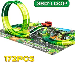 Dinosaur Race Track Toys Set –Single Loop Race Train Track Playset with a 3D Dinosaur Playmat,172 pcs Flexible Tracks and Dino Accessories.