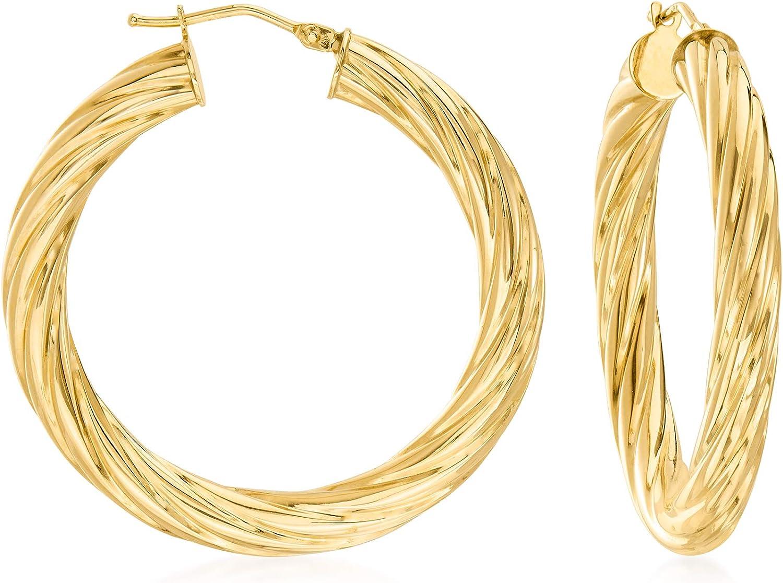 Ross-Simons Italian 14kt Yellow Gold Twisted Hoop Earrings
