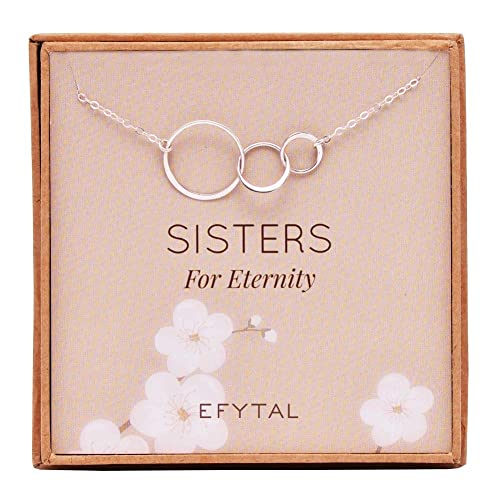 EFYTAL Sister Gifts From 925 Sterling Silver Three Circle Necklace Birthday Jewelry Gift
