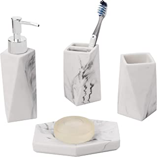 MyGift 4-Piece Marble Style White Resin Faceted Bathroom Accessory Set - Hand Soap/Lotion Dispenser, Soap Dish, Toothbrush Holder & Tumbler