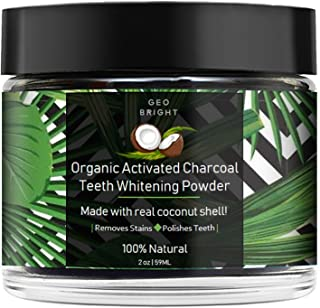 Organic Activated Charcoal Teeth Whitening Powder by Geo Bright, Natural Coconut Shell, Alternative To Charcoal Toothpaste, Strips, Kits, Gels